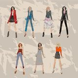 Fashion models set. Sketch fall winter trends. Illustration with fashionable girls. shopping. fashion illustration. fashion banner.collage. Street fashion. new Royalty Free Stock Photography