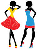 Fashion models in short modern dresses. Attractive graceful fashion models in short colorful modern dresses, hand drawing stylized vector illustration Stock Images