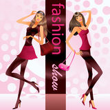 Fashion models show clothes stock illustration