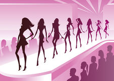 Fashion models show new clothes. At a review - vector illustration Stock Photography