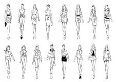 Fashion models shows everyday outfits sketch icons Stock Images