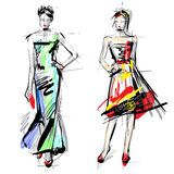 Fashion models. Sketch. Royalty Free Stock Photography