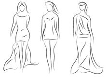 Fashion models,  sketch, beautiful sexy women silhouette Royalty Free Stock Images
