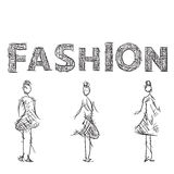 Fashion models sketch. Drawn letters. Stock Photos