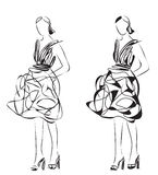 Fashion models. Sketch. Royalty Free Stock Photos