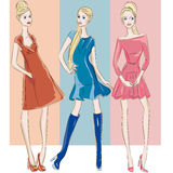 Fashion models in sketch style fall winter Royalty Free Stock Images
