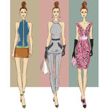 Fashion models in sketch style fall winter Royalty Free Stock Photography