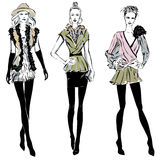 Fashion models in sketch style fall winter Stock Photo