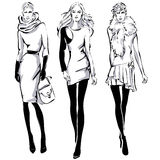 Fashion models in sketch style fall winter Stock Image