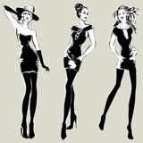 Fashion models in sketch style fall winter Stock Photography