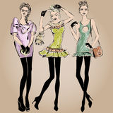 Fashion models in sketch style fall winter Stock Images