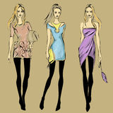Fashion models in sketch style fall winter Stock Photos