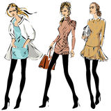 Fashion models in sketch style fall winter Royalty Free Stock Photo