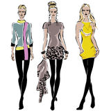 Fashion models in sketch style fall winter Royalty Free Stock Photos