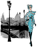 Fashion models in sketch style fall winter with Paris city background. Hand drawn illustration royalty free illustration