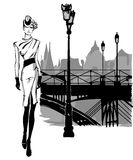 Fashion models in sketch style fall winter with Paris city background Royalty Free Stock Image