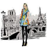 Fashion models in sketch style fall winter with Paris city background Stock Images
