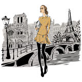 Fashion models in sketch style fall winter with Paris city background. Hand drawn illustration stock illustration