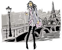 Fashion models in sketch style fall winter with Paris city background Stock Photo