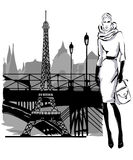 Fashion models in sketch style fall winter with Paris city near Eiffel tower Royalty Free Stock Photo