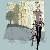 Fashion models in sketch style with Paris city background Royalty Free Stock Images