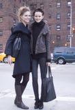 Fashion models street style during fashion week royalty free stock photo