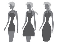 Fashion Models in Stylish Black Dress Vector Illustration Royalty Free Stock Image
