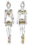 Fashion models. Two models. Fashion  illustration Royalty Free Stock Photography