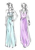 Fashion models. Two models. Fashion  illustration Royalty Free Stock Image