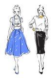Fashion models. Two models. Fashion  illustration Stock Photography