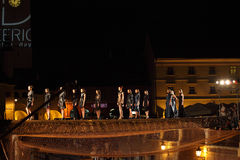Fashion models walking on a bridge Stock Photography