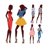 Fashion models woman silhouette sketch attractive lady elegant adult character vector illustration. Royalty Free Stock Photo