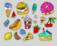 Fashion modern doodle cartoon patch badges or stikers with speach bubbles. Fashion modern doodle cartoon patch badges or stikers with cute funkey fast food stock illustration