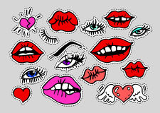 Fashion modern doodle cartoon patch badges or stikers with speach bubbles. Fashion modern doodle cartoon patch badges or stikers with kiss red lips eye lashes royalty free illustration
