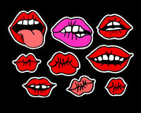 Fashion modern doodle cartoon patch badges or stikers with speach bubbles. Fashion modern doodle cartoon patch badges or stikers with kiss red lips. Set of vector illustration