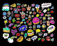 Fashion modern doodle cartoon patch badges or stikers with speach bubbles. Stars, heart, lips and other elements. Set of cartoon pins in 80s 90s pop art vector illustration