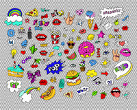 Fashion modern doodle cartoon patch badges or stikers with speach bubbles. Stars, heart, lips and other elements. Set of cartoon pins in 80s 90s pop art royalty free illustration