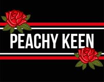 Peachy keen. Fashion modern graphic print for clothes t shirt with lettering `Peachy keen` with embroidered red roses. Creative vector illustration for sticker Stock Photo