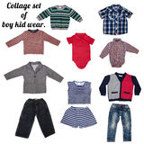 Fashion modern male baby clothes. Collage set of boy kid wear stock images