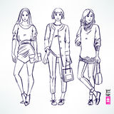 Fashion modern sketch girl Stock Images