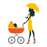 Fashion mom with baby in pram under umbrella Royalty Free Stock Images