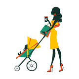 Fashion mom with baby in pram under umbrella Stock Photography