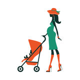Fashion mom with baby in pram under umbrella Royalty Free Stock Image