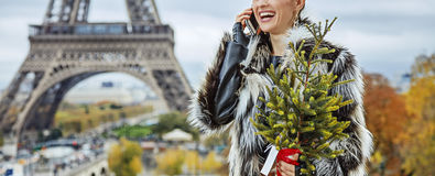 Fashion-monger with Christmas tree speaking on mobile, Paris Stock Images