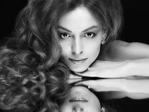 Fashion monochrome portrait of beautiful woman royalty free stock images