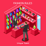 Fashion Moods 03 People Isometric. Flat 3d isometric fashion shopping abstract interior room necktie customers clients buyers workers staff bright colorful Stock Images
