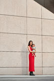 Fashion Mother And Baby about wall Stock Images