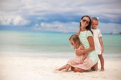 Fashion mother and two her adorable daughters at Royalty Free Stock Photo