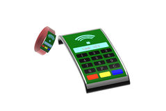 Fashion mPos machine with nice smart watch for payment Royalty Free Stock Images