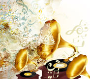 Fashion music background with old gramophones, grunge texture an Royalty Free Stock Photography